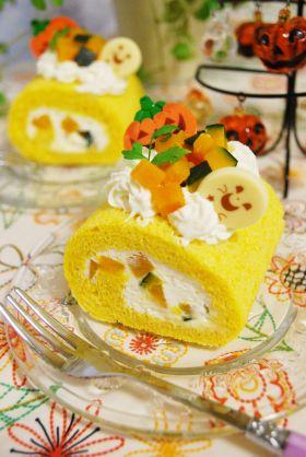 【ハロウィン】かぼちゃのロールケーキ