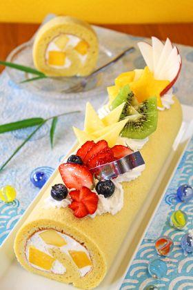 七夕☆マンゴーココナッツロールケーキ