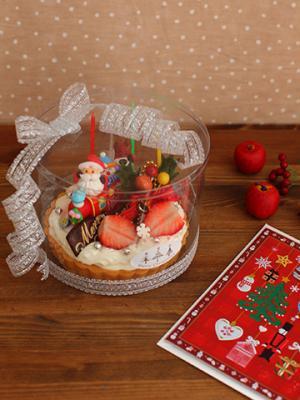 クリスマス レアチーズタルトのラッピング