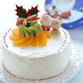 オレンジとキウイのデコレーションケーキ