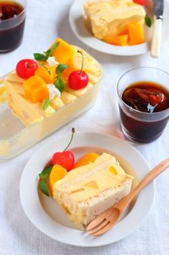 マンゴーのスコップアイスケーキ