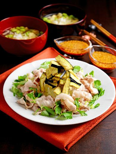サクサクなすと楽しむ豚しゃぶ&枝豆入り卵スープ