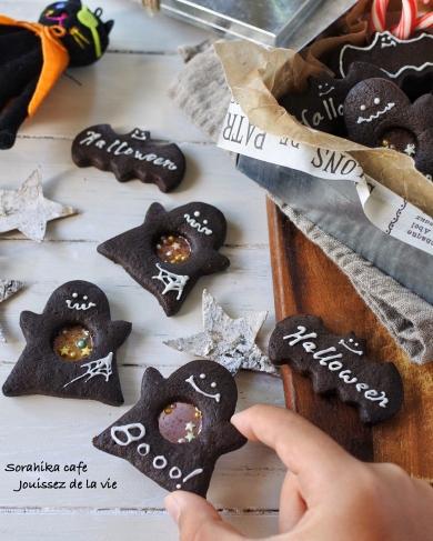 ハロウィン気分を盛り上げる!!おばけのステンドグラスクッキー
