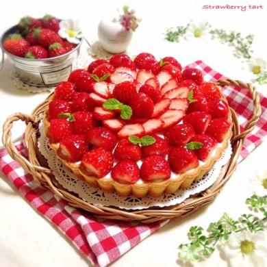 たっぷり苺のレアチーズタルト