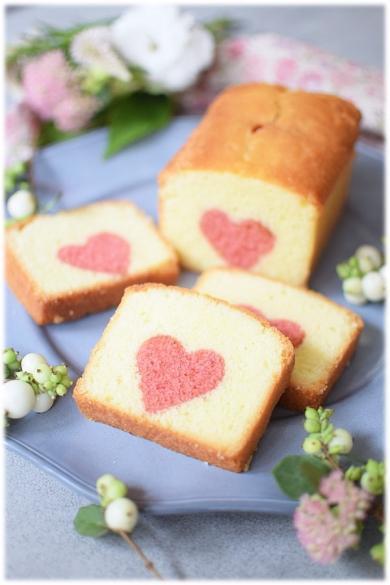 ストロベリー☆ハートパウンドケーキ