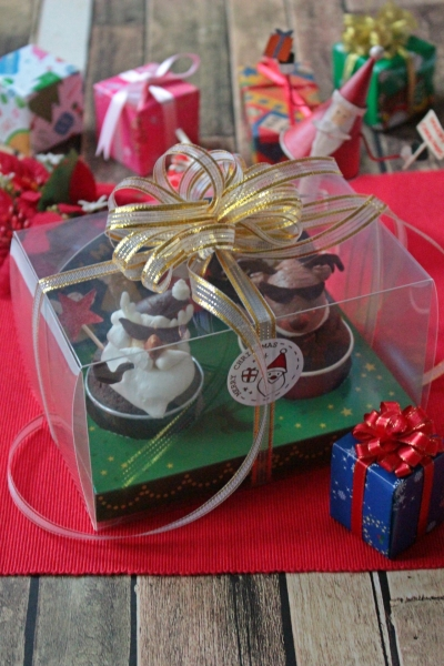 クリスマスデコカップケーキのラッピング