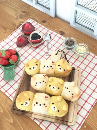 ポテトフレークでフワモチ☆三つ子のくまさんちぎりパン