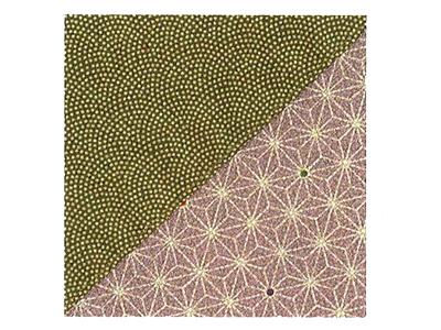さざら織り両面ふろしき(鮫小紋×麻柄)緑紫74×74