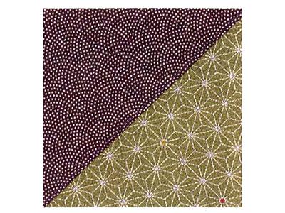さざら織り両面ふろしき(鮫小紋×麻柄)紫利久