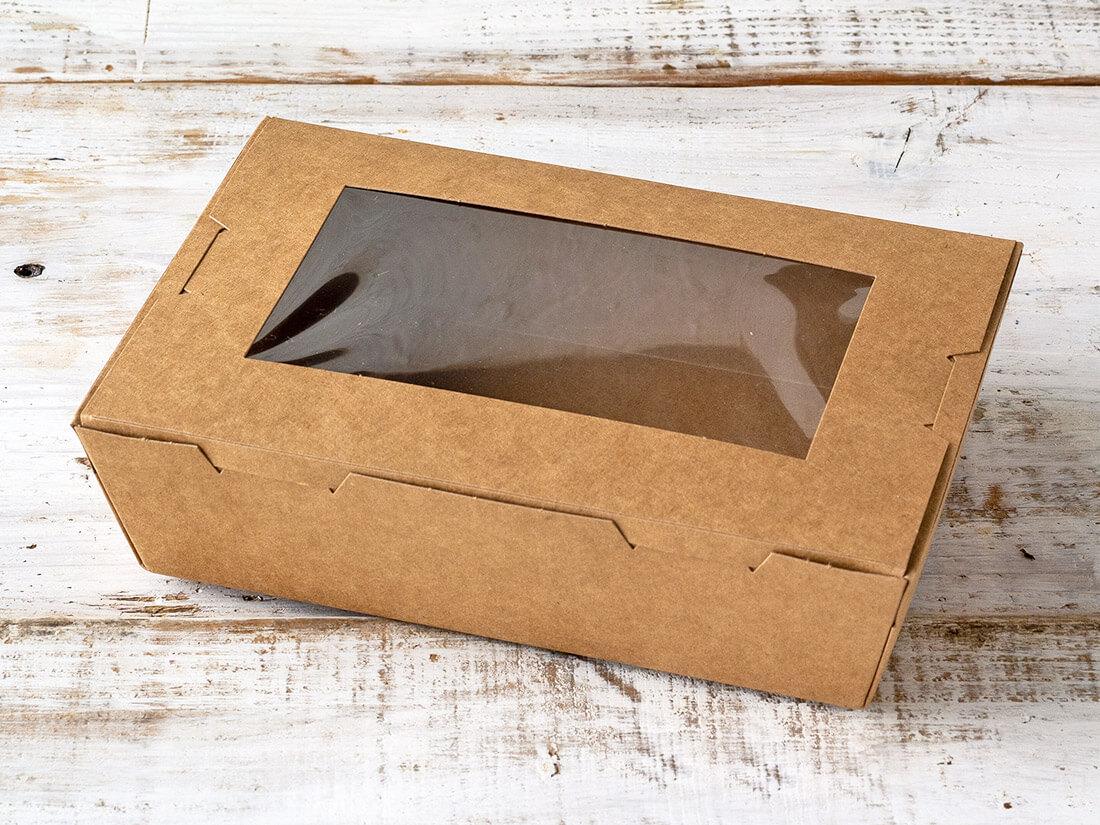 窓付きランチボックス(M)クラフト