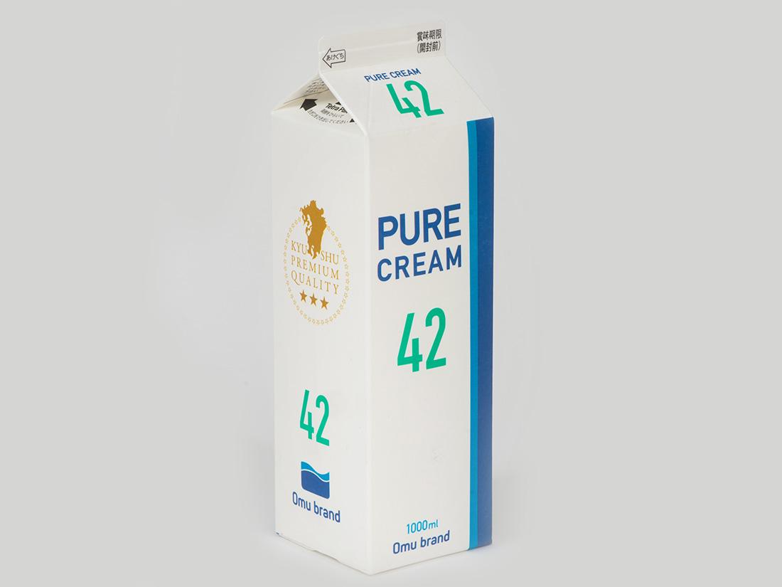 冷蔵 オーム乳業 ピュアクリーム42% 1L★