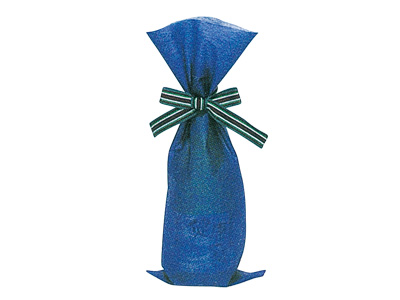 ワイン不織布ブルー(リボン付)