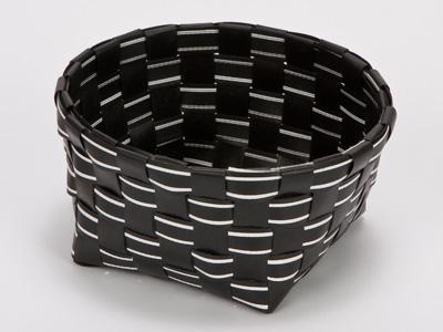 パステルラインバスケット(丸)黒
