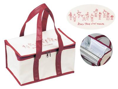 不織布保冷BOX TO シェフストーリー クリーム/ワインレッド