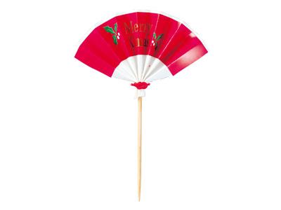クリスマス扇子串(赤)10個入