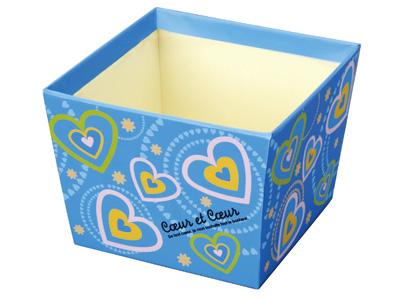 台形BOX ハート&ハート ブルー