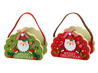 クリスマスレース型フェルトバッグ(2色アソート)