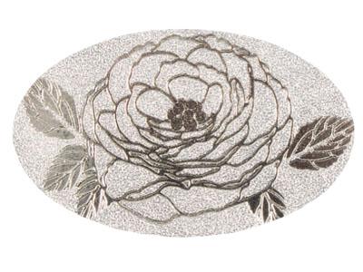 ギフトシール オーバル ローズ 銀 (36片入)