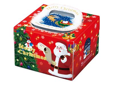 クリスマスデコ箱 H130 PFB ポムサンタ 5寸用(トレーなし)