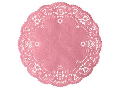カラーレースペーパー ピンク 丸型 15cm 20P