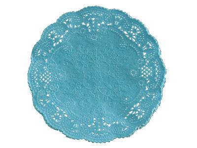 カラーレースペーパー ブルー 丸型 15cm 20P