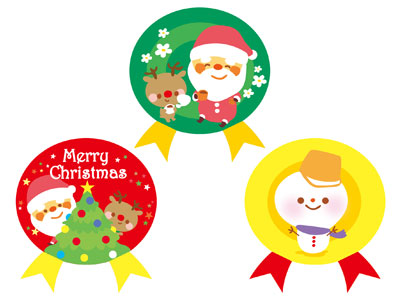 クリスマスギフトシール フラッフィ(3柄アソート・各12片入)