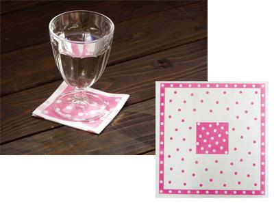 ランチナプキン水玉ピンク(60枚入り)