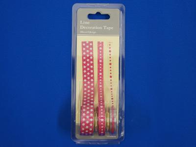 ラインデコレーションテープ(ピンク/ホワイト)ドット