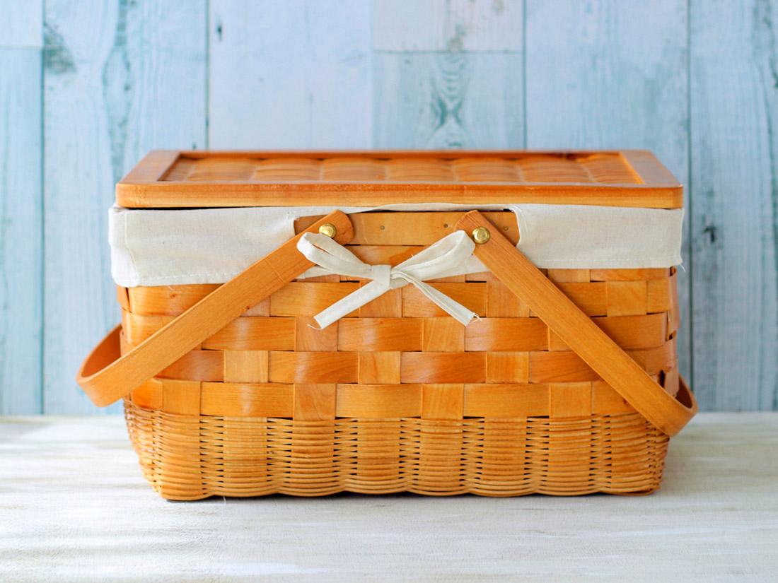 木製 蓋付きバスケット(小)