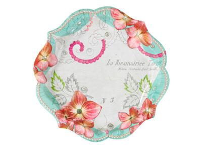 TT 紙皿/フラワー&鳥 (12枚入)