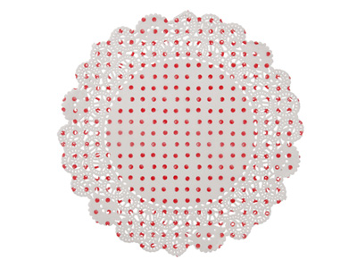 TT レースペーパー/白×赤ドット (20枚入)