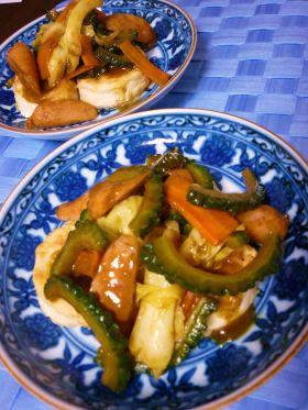 豆腐のゴーヤカレーソース