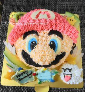 マリオの立体キャラケーキ