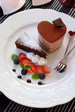 チョコムース&ガトーショコラのバレンタインプレート