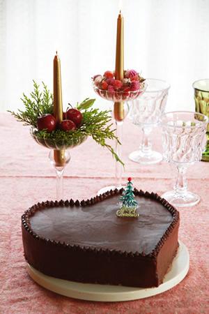 チョコレートハートのクリスマスケーキ