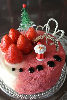 【クリスマス】ピンクのX'masケーキ