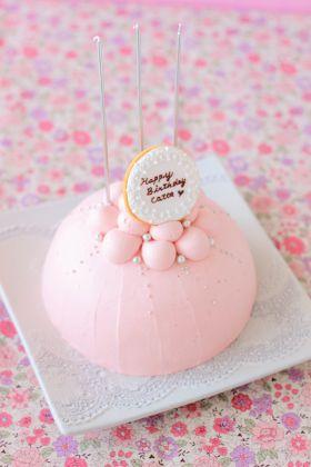 ピンクのドームケーキ♪