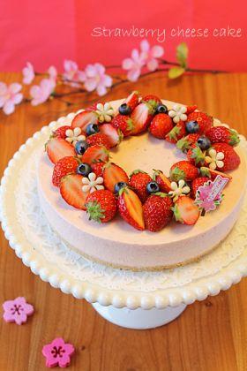【春のお菓子】苺のまろやかレアチーズケーキ