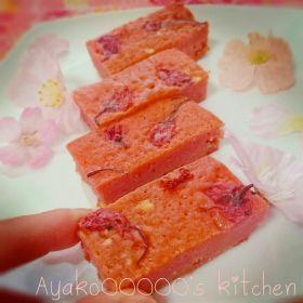 【春のお菓子】桜ホワイトチョコブラウニー