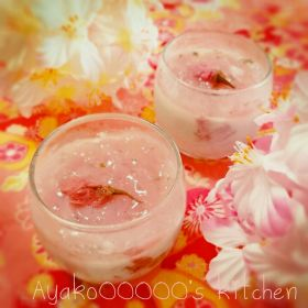 【春のお菓子】ココナッツミルクプリン〜桜ジュレ添え