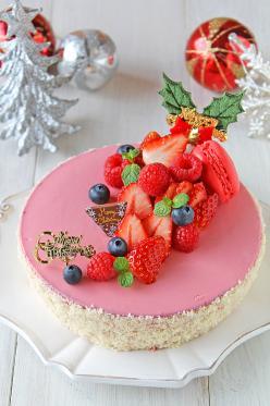 クリスマスダブルチーズケーキ☆ベリー風味