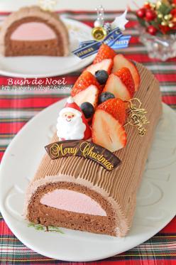 苺&チョコムースのふわふわブッシュドノエル