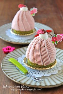 抹茶と苺の桜モンブラン☆