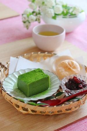 豆乳抹茶の葛豆腐