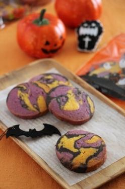 ハロウィンの3色マーブルクッキー
