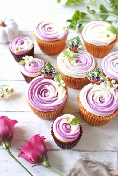紫芋クリームのカップケーキ