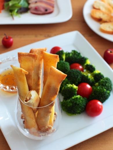 胡桃とチーズ+イチジクの揚げない春巻きスティック