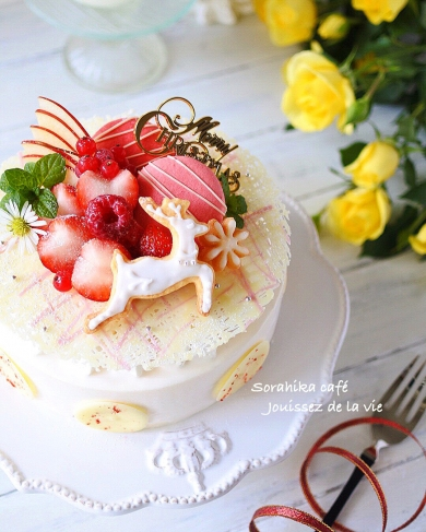 ホワイトチョコとフランボワーズのクリスマスムースケーキ