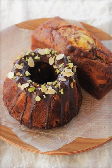 チョコレートマーブルケーキ(クグロフ型とパウンド型)