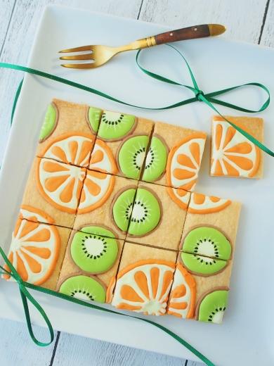 オレンジとキウイのパズルクッキー